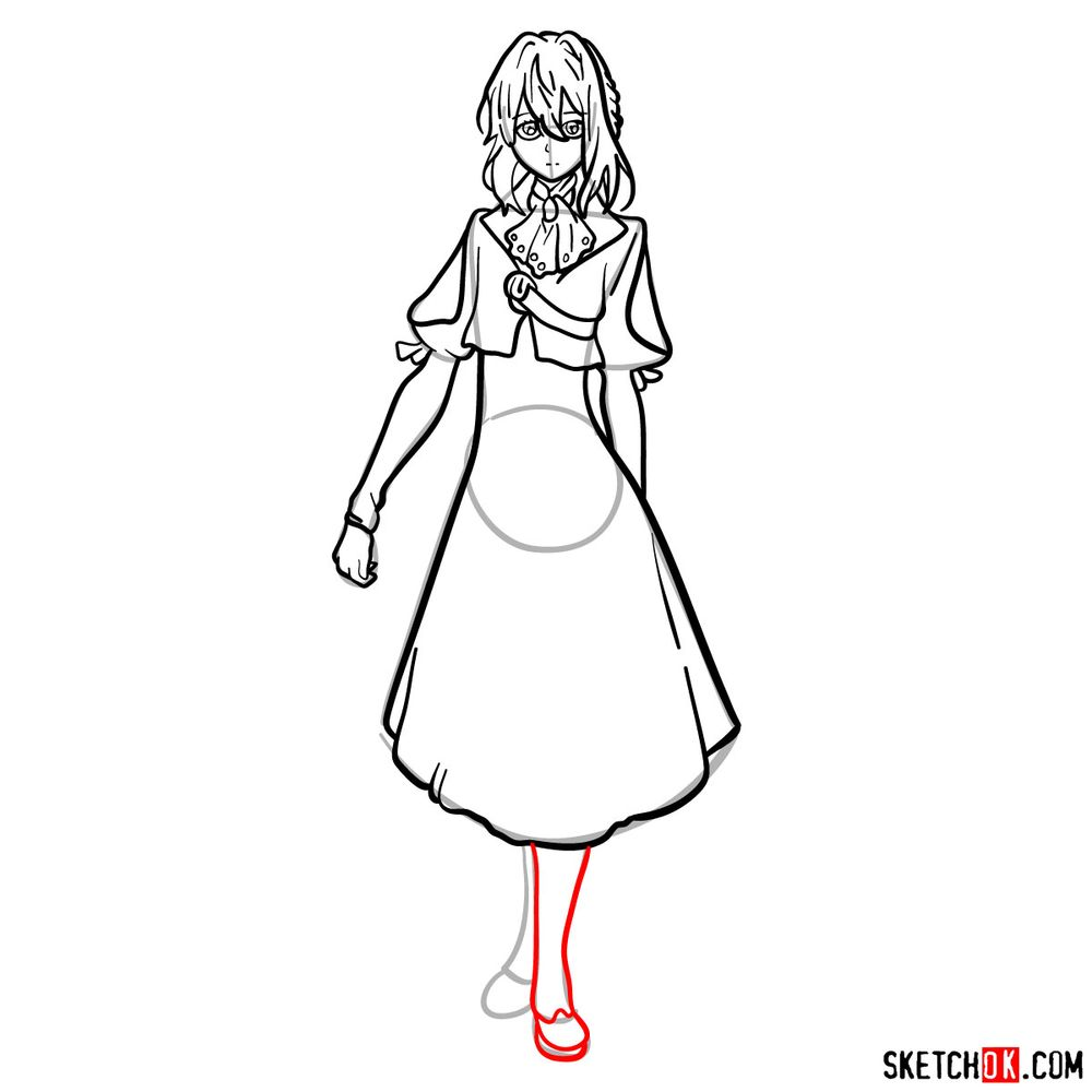 How to draw Violet Evergarden - step 12