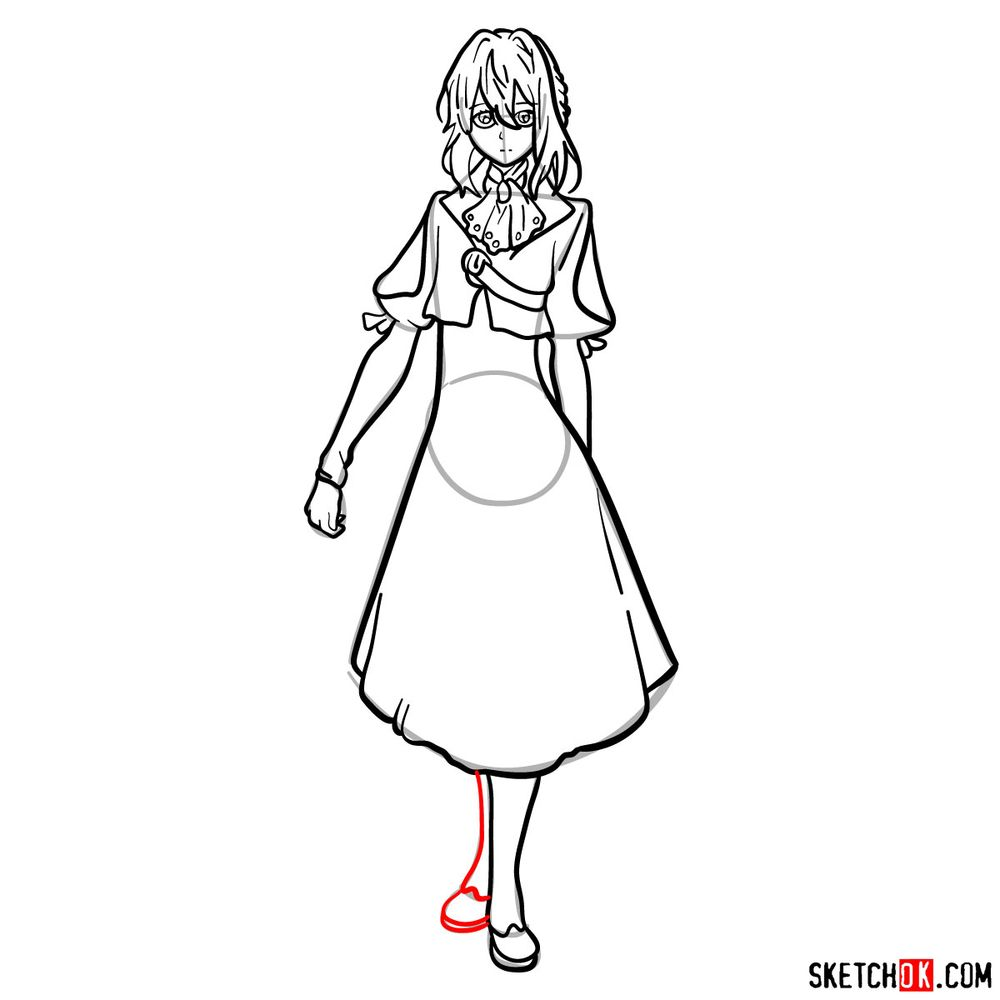 How to draw Violet Evergarden - step 13