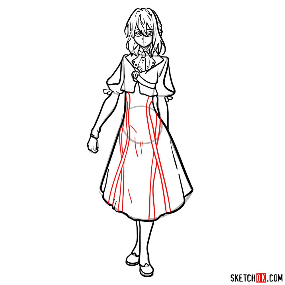 How to draw Violet Evergarden - step 14