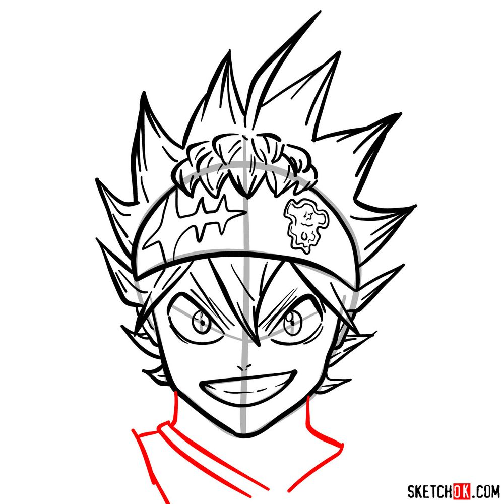 How to draw Asta from Black Clover anime - step 13
