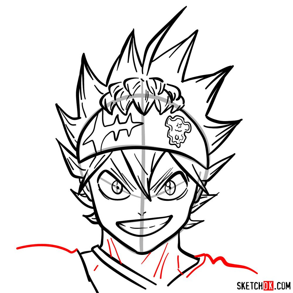How to draw Asta from Black Clover anime - step 14