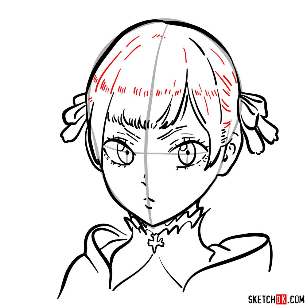 How to draw Noelle Silva from Black Clover anime - step 11