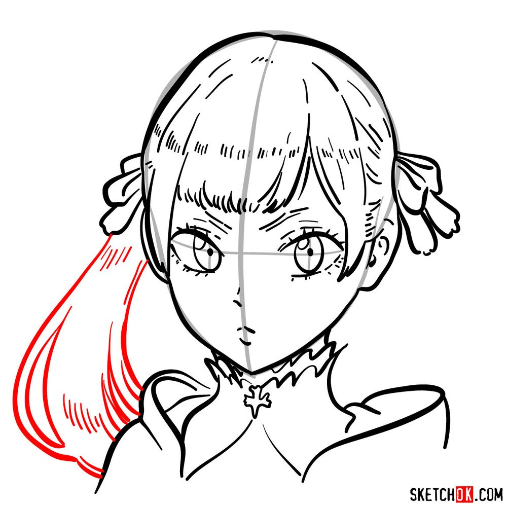 How to draw Noelle Silva from Black Clover anime - step 12
