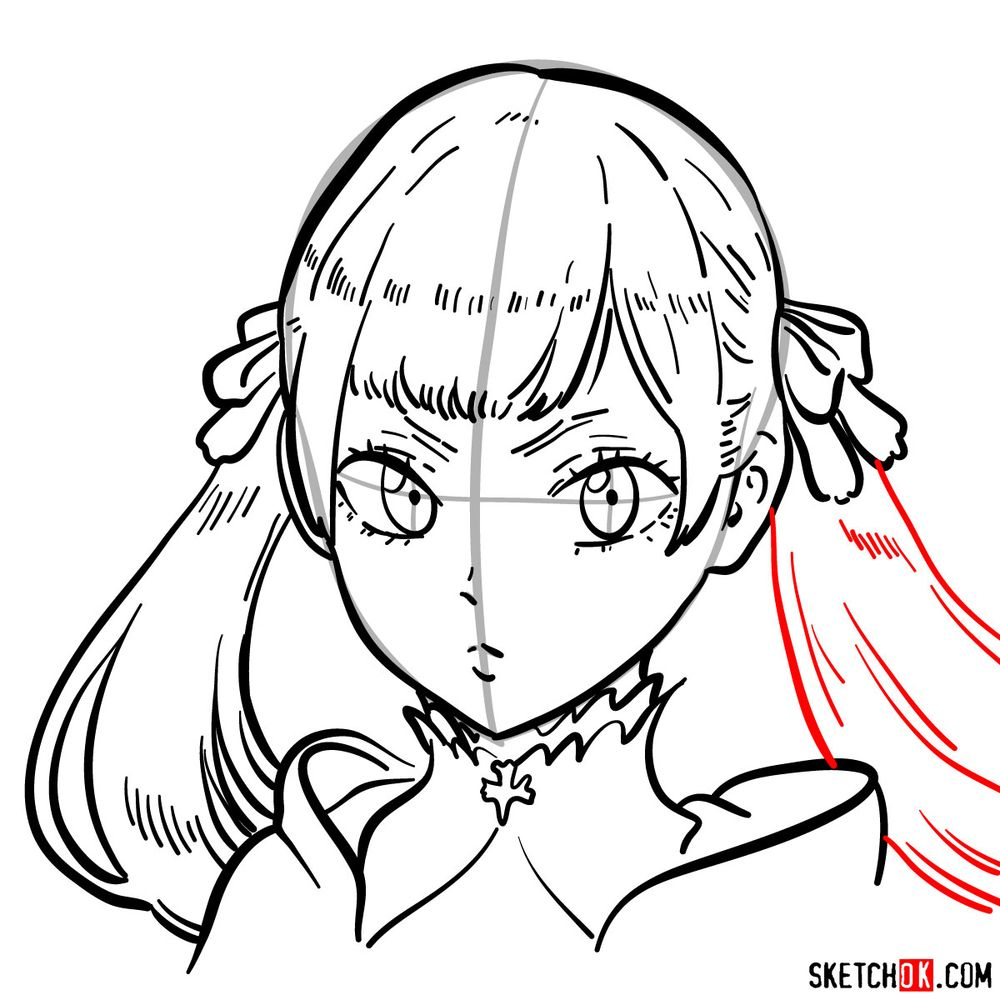 How to draw Noelle Silva from Black Clover anime - step 13