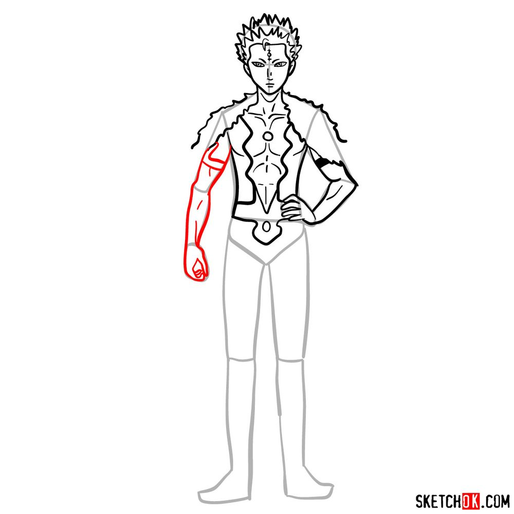 How to draw Mars from Black Clover anime - step 10