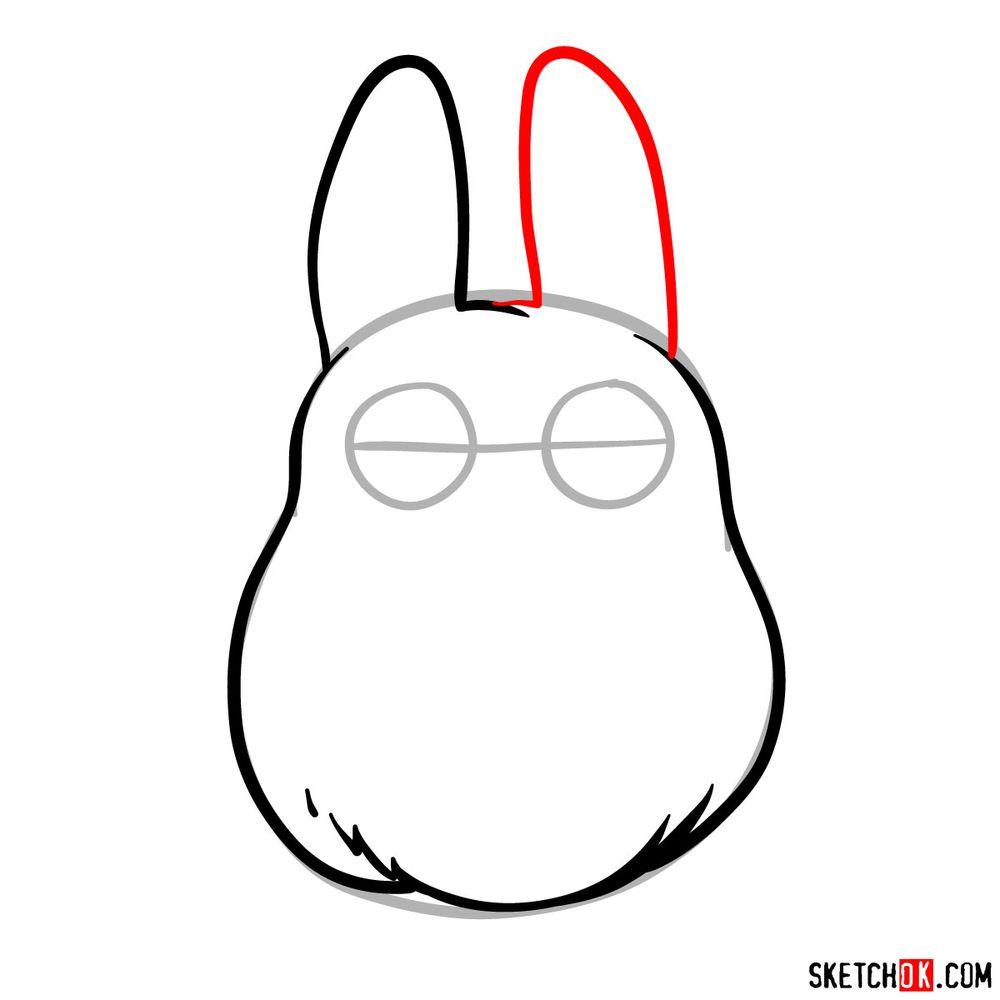 How to draw chibi White Totoro - step 05