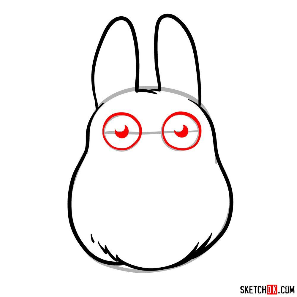 How to draw chibi White Totoro - step 06