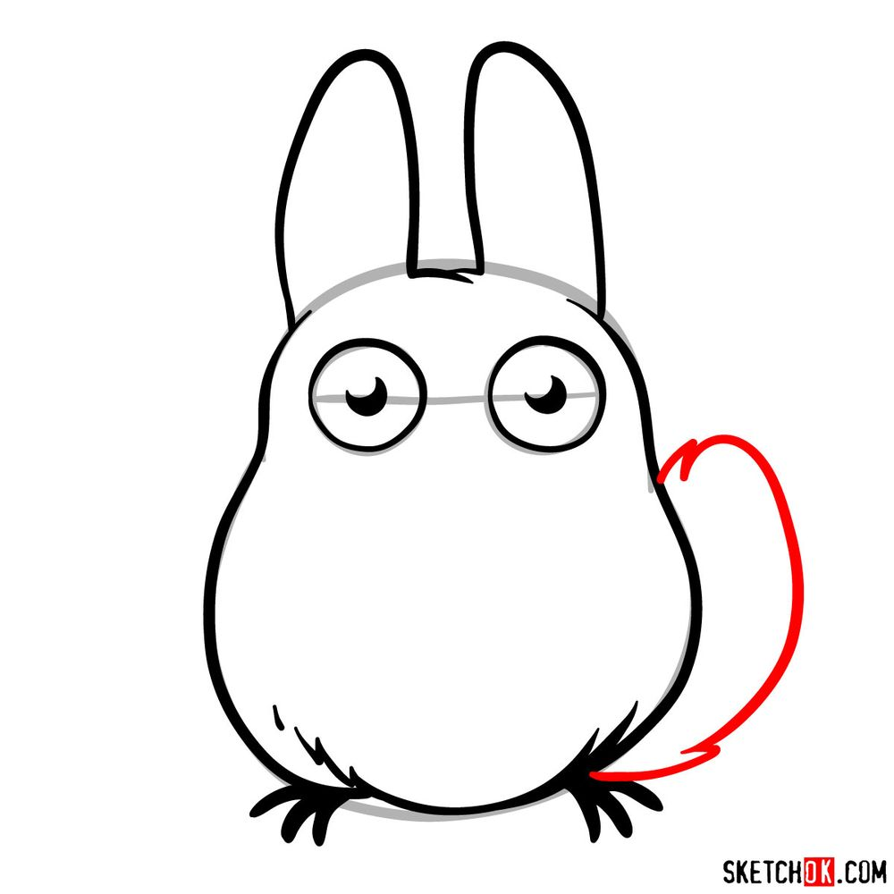 How to draw chibi White Totoro - step 08