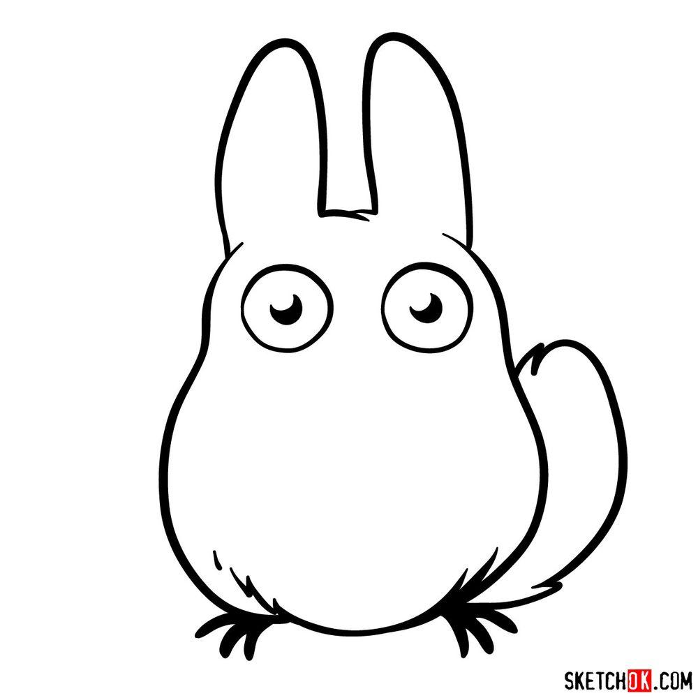 How to draw chibi White Totoro