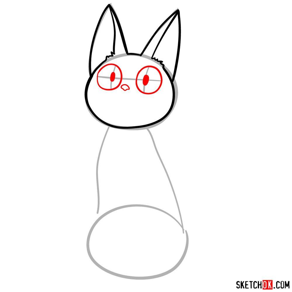 How to draw Jiji (Kiki's cat) - step 04