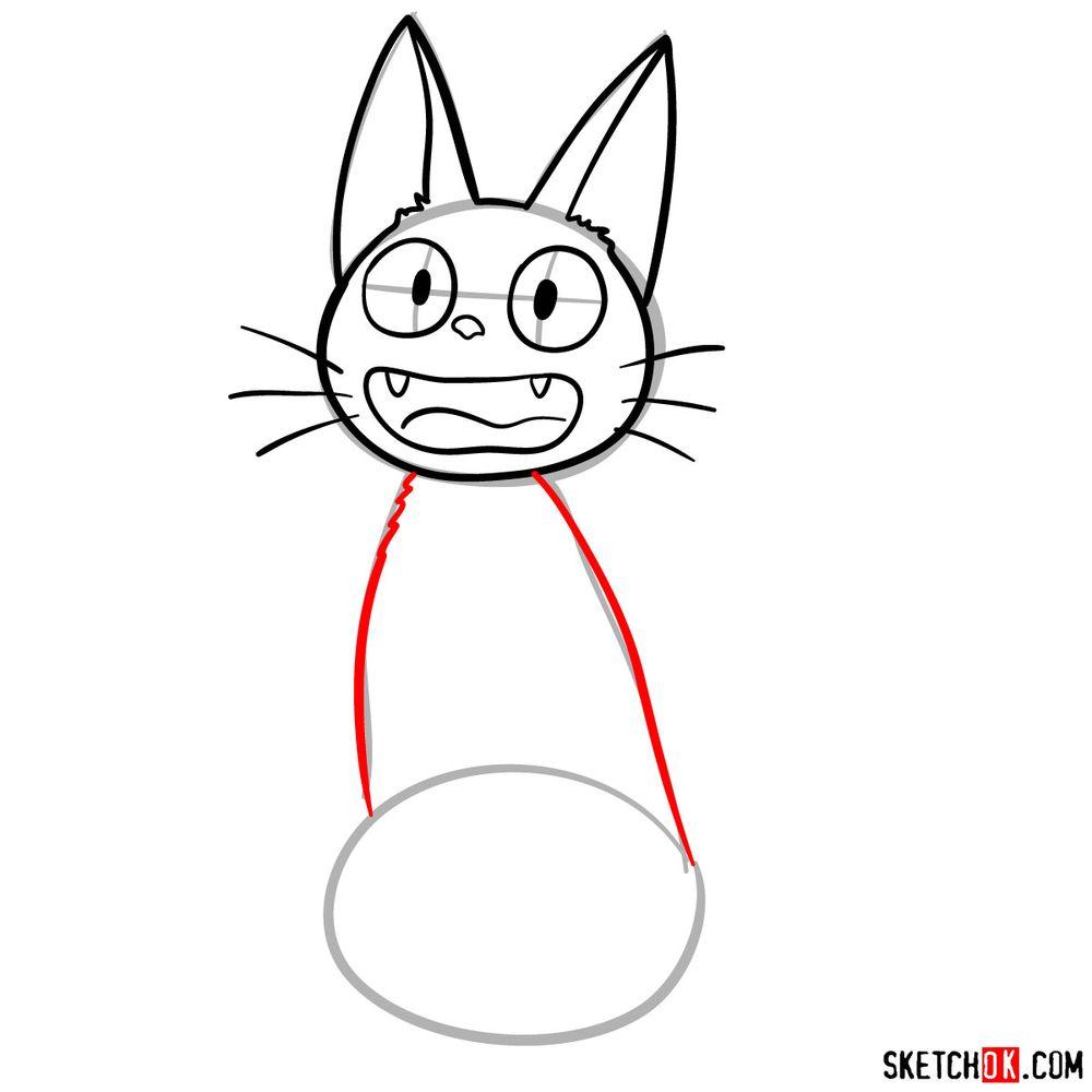How to draw Jiji (Kiki's cat) - step 06