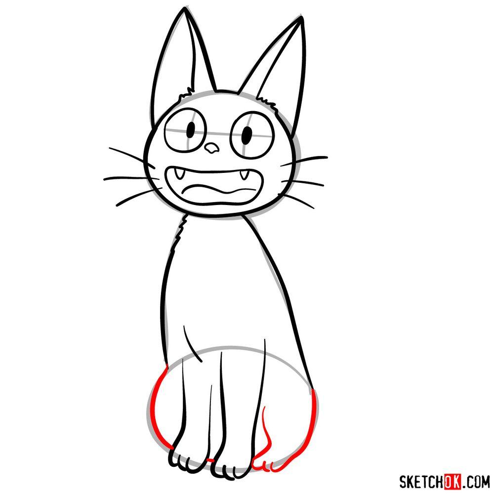 How to draw Jiji (Kiki's cat) - step 08
