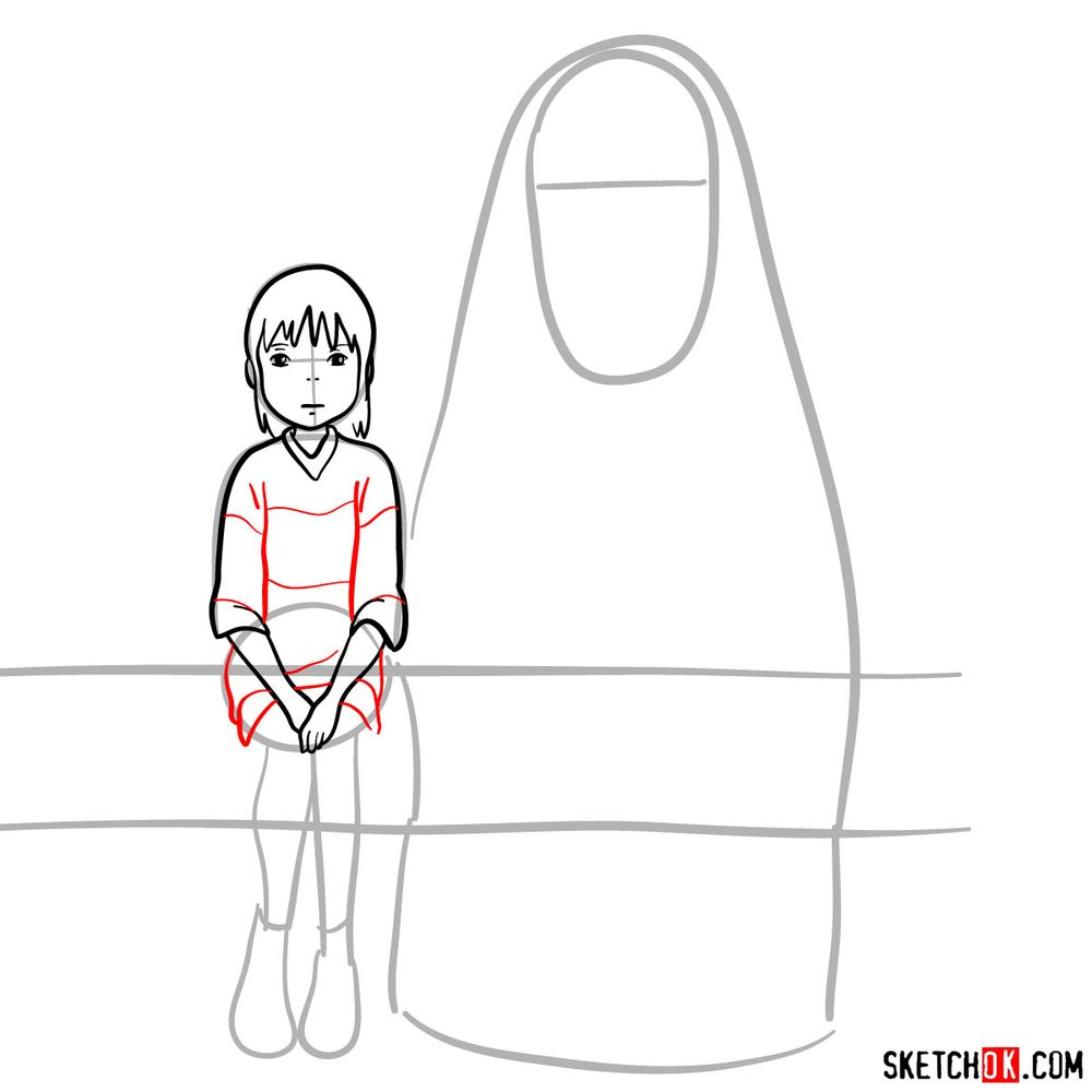 How to draw Chihiro and No-Face together - step 08