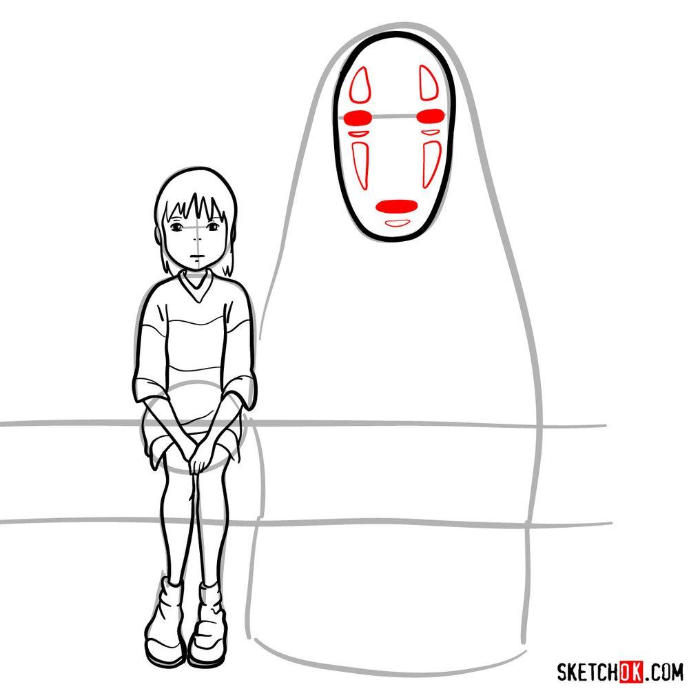 How to draw Chihiro and No-Face together - step 12