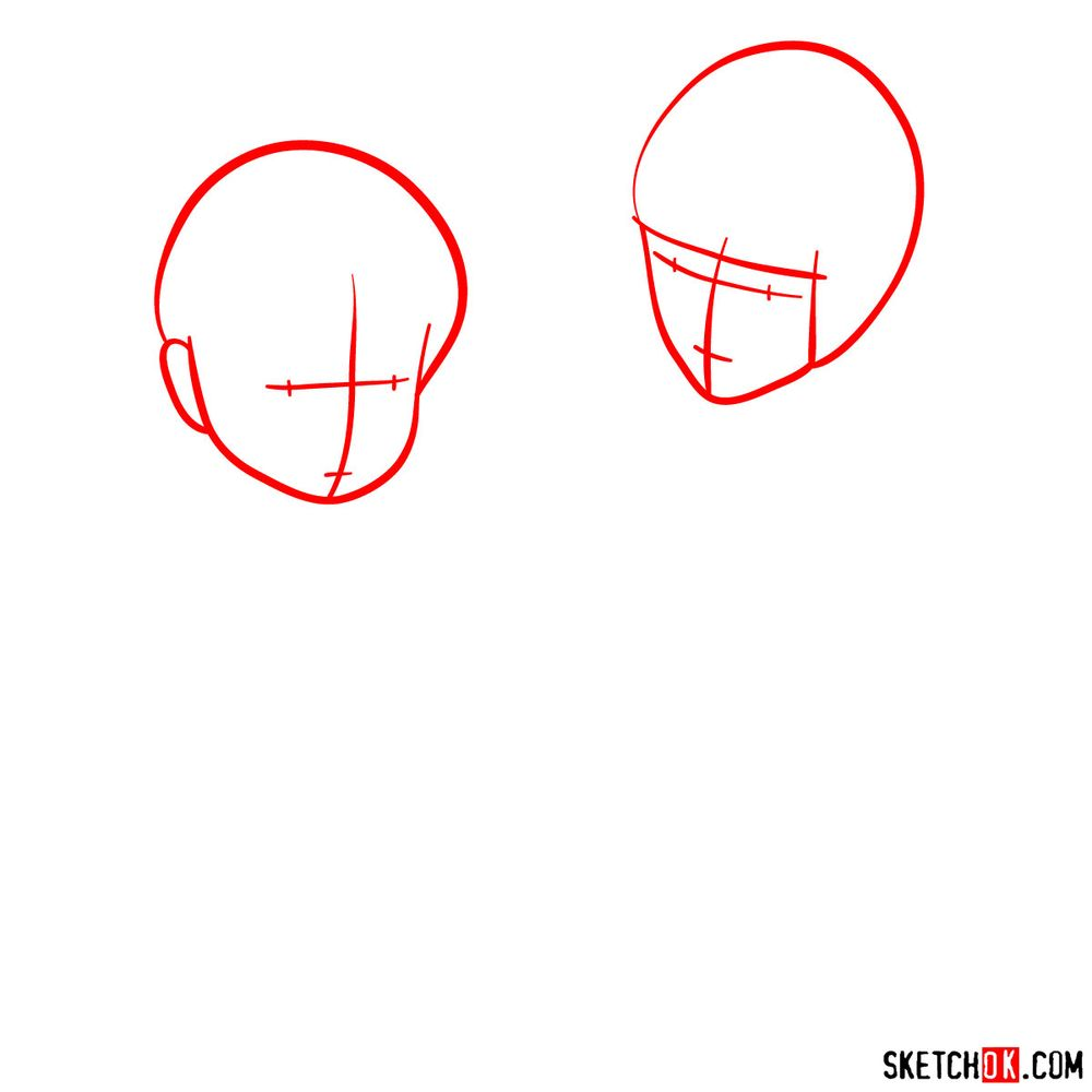 How to draw Haku and Chihiro together - step 01