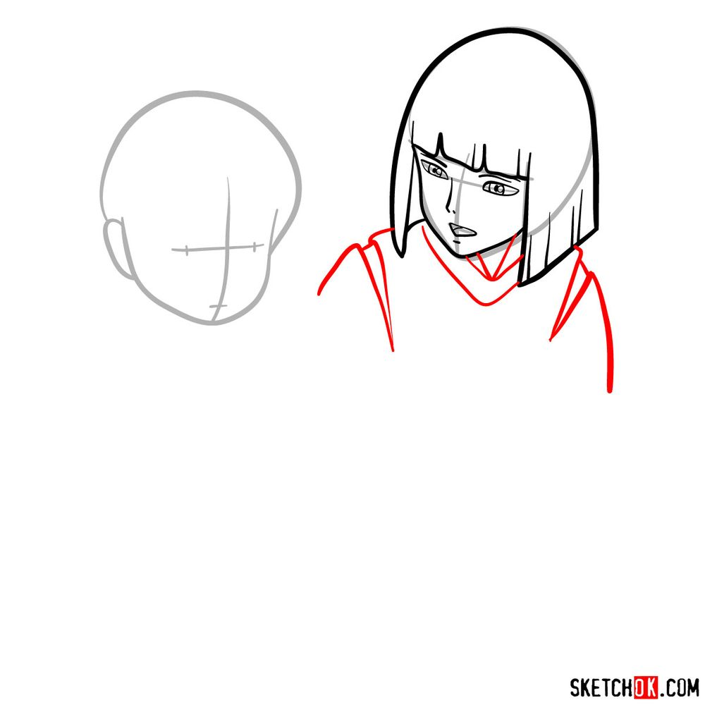 How to draw Haku and Chihiro together - step 05