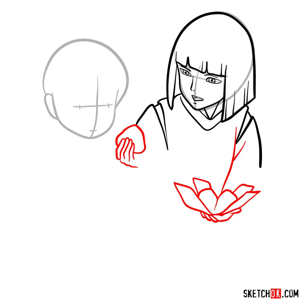 How to draw Haku and Chihiro together - step 06
