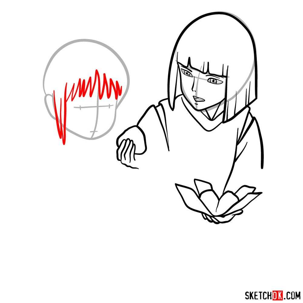How to draw Haku and Chihiro together - step 07