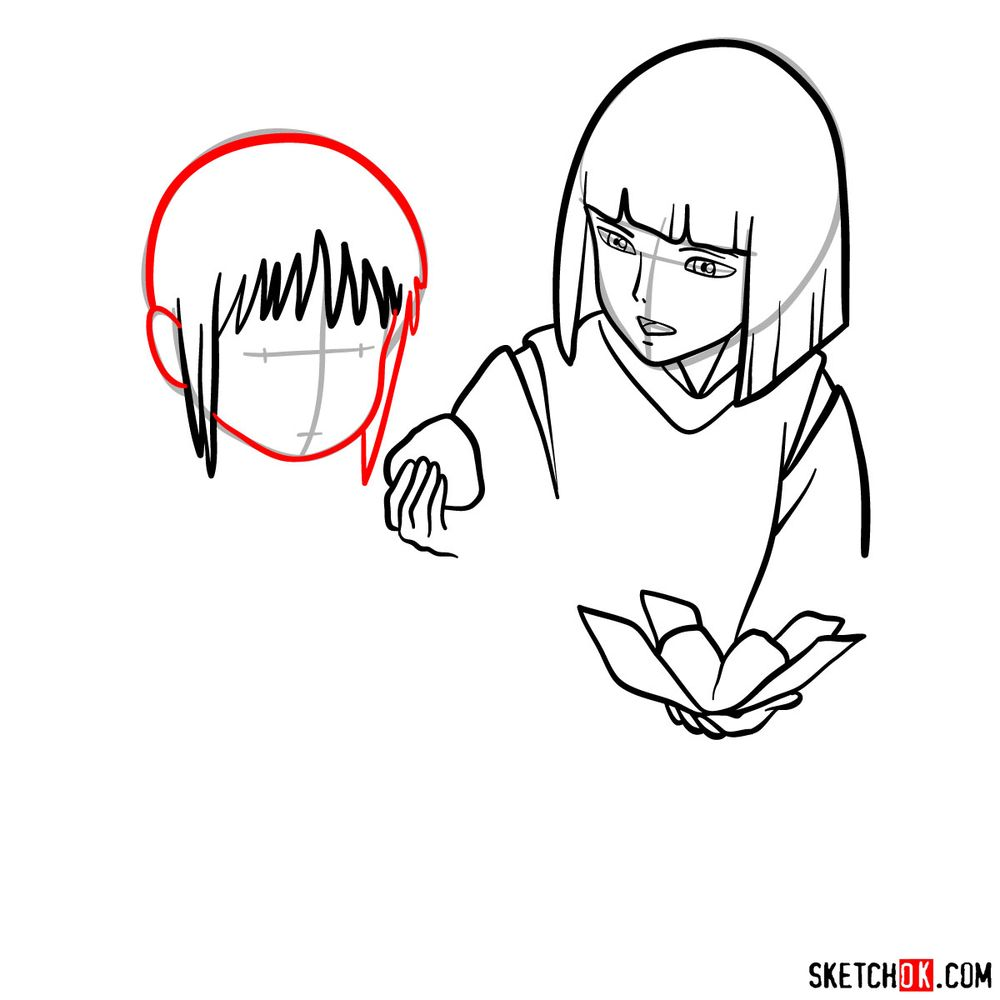 How to draw Haku and Chihiro together - step 08