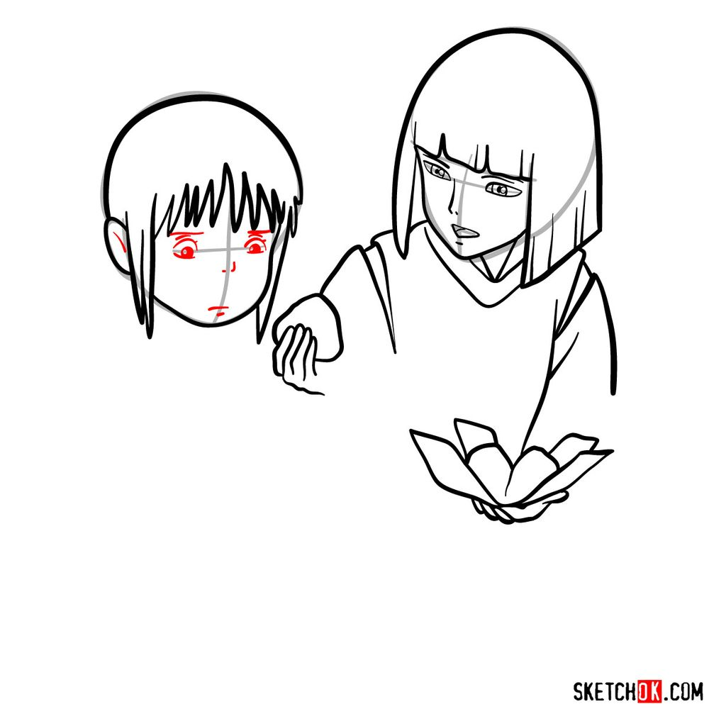How to draw Haku and Chihiro together - step 09