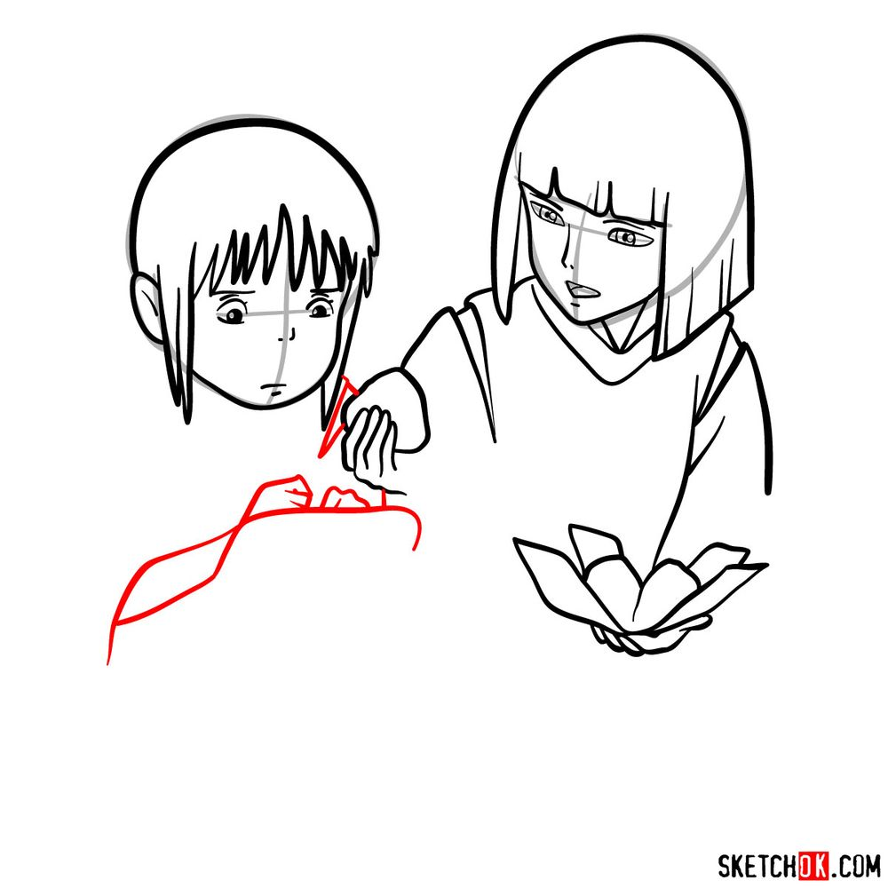 How to draw Haku and Chihiro together - step 10