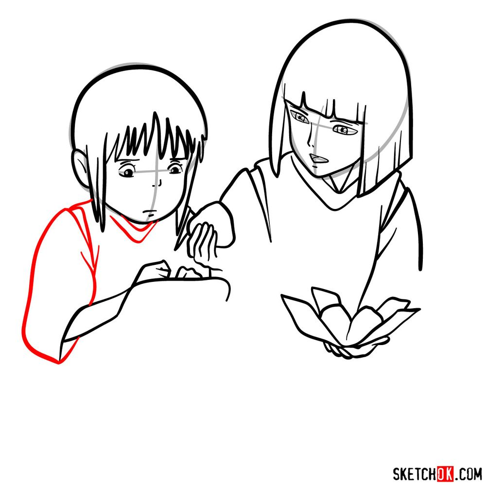 How to draw Haku and Chihiro together - step 11