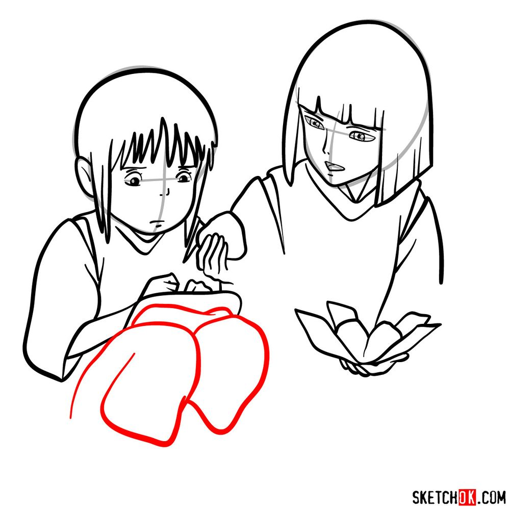 How to draw Haku and Chihiro together - step 12