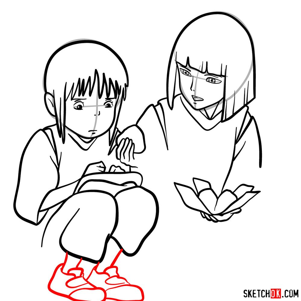 How to draw Haku and Chihiro together - step 13
