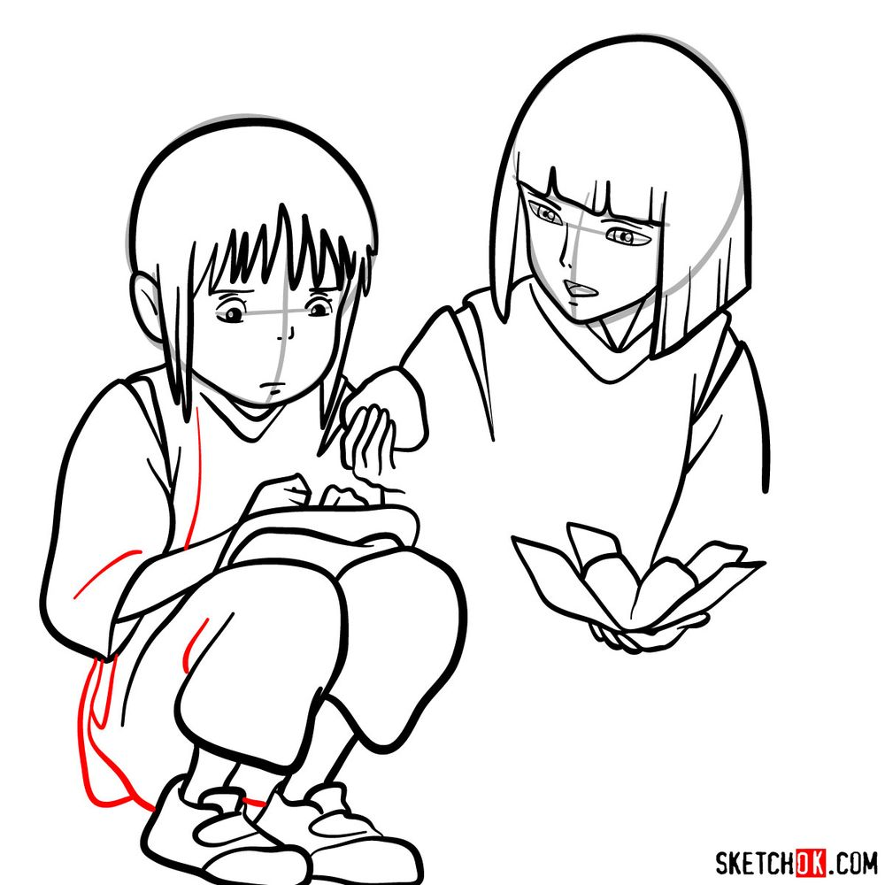 How to draw Haku and Chihiro together - step 14