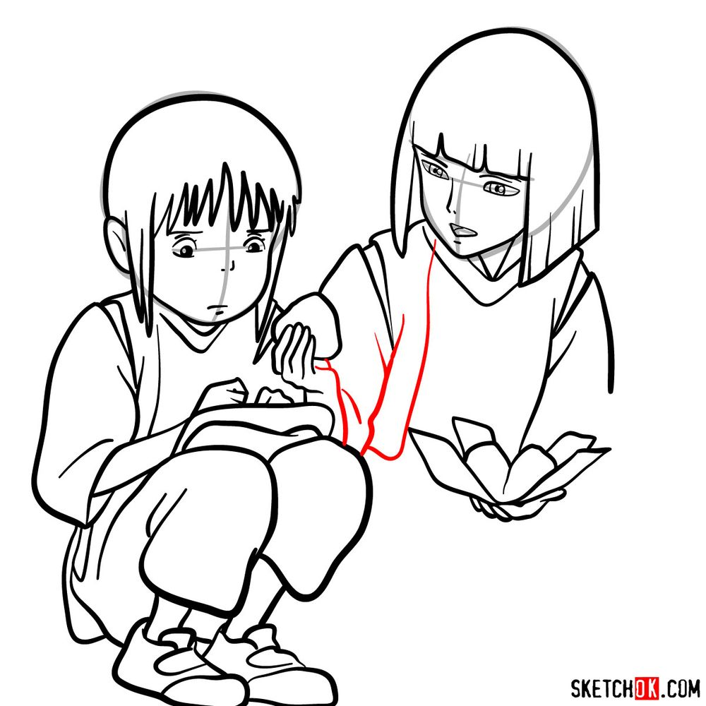 How to draw Haku and Chihiro together - step 15