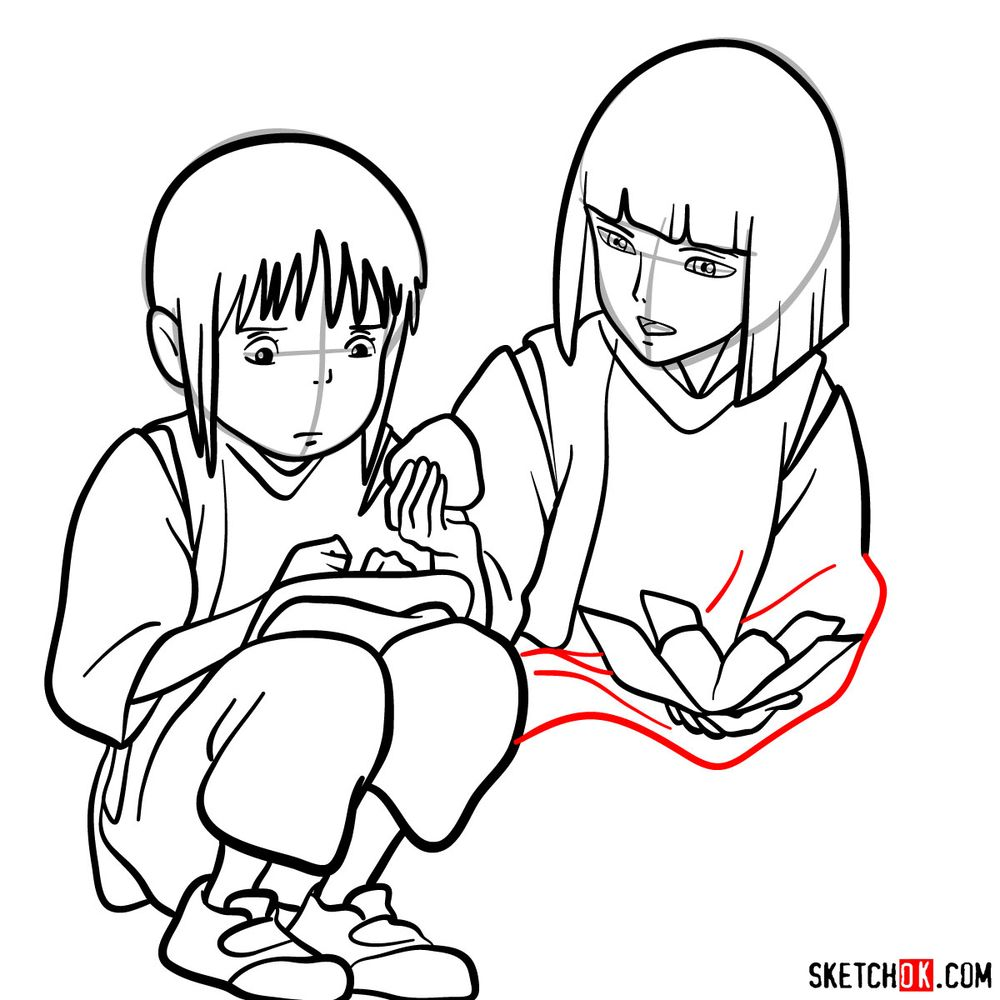 How to draw Haku and Chihiro together - step 16
