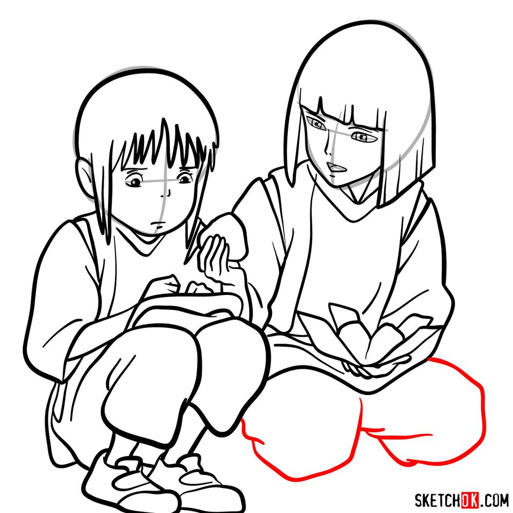 How to draw Haku and Chihiro together - step 17