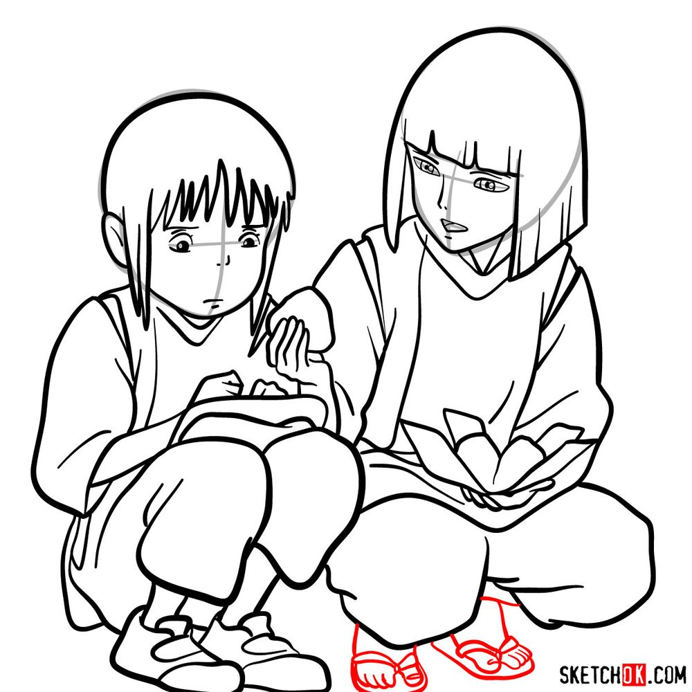 How to draw Haku and Chihiro together - step 18