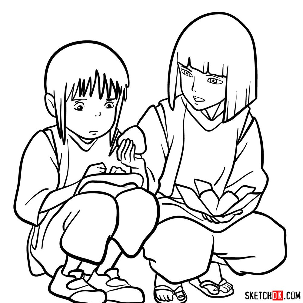 How to draw Haku and Chihiro together