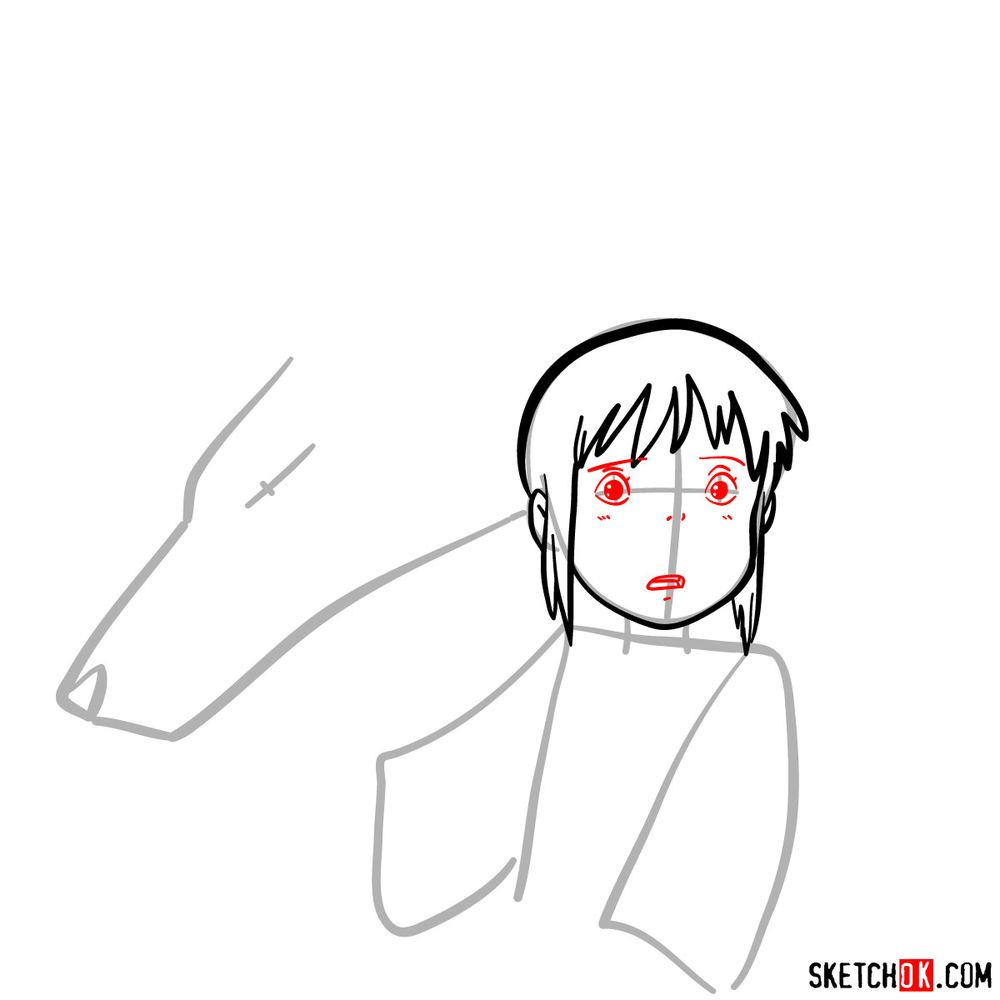How to draw Chihiro and Haku in dragon form - step 05