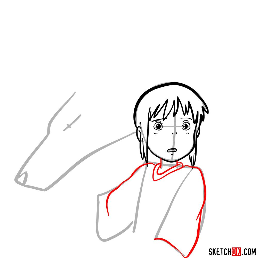 How to draw Chihiro and Haku in dragon form - step 06