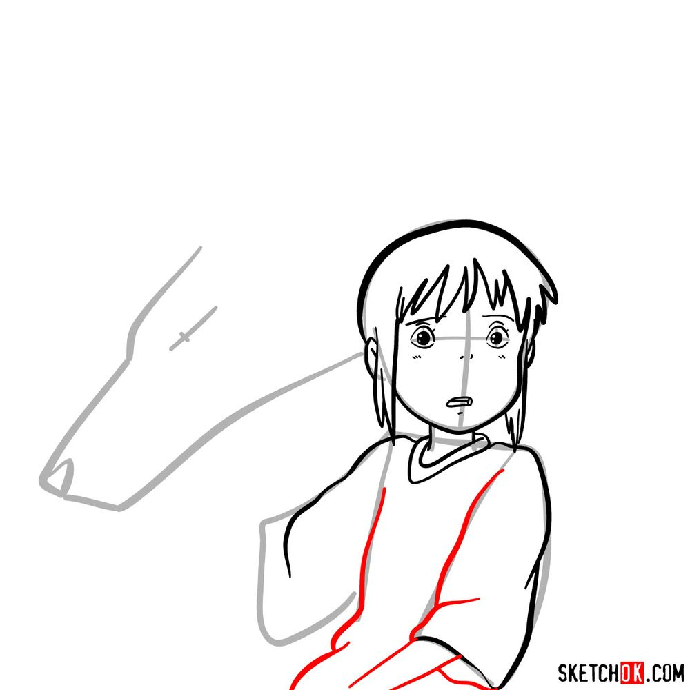 How to draw Chihiro and Haku in dragon form - step 07
