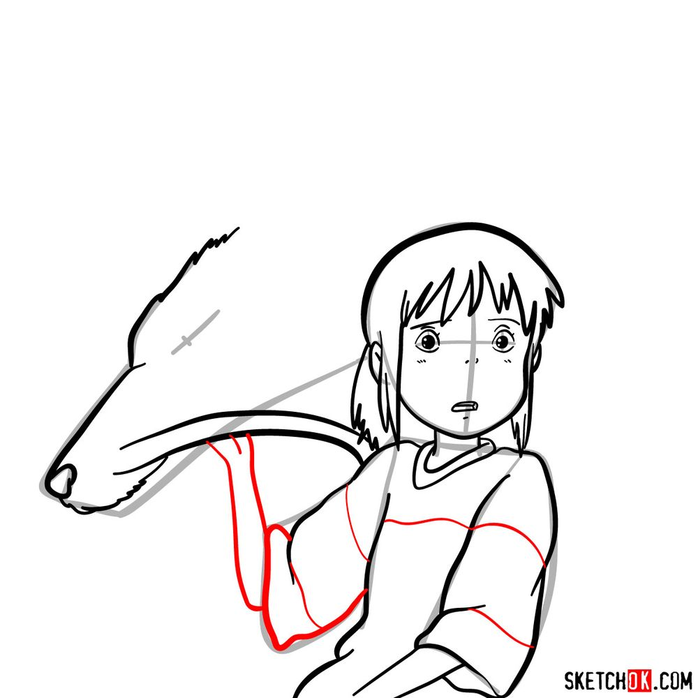 How to draw Chihiro and Haku in dragon form - step 11