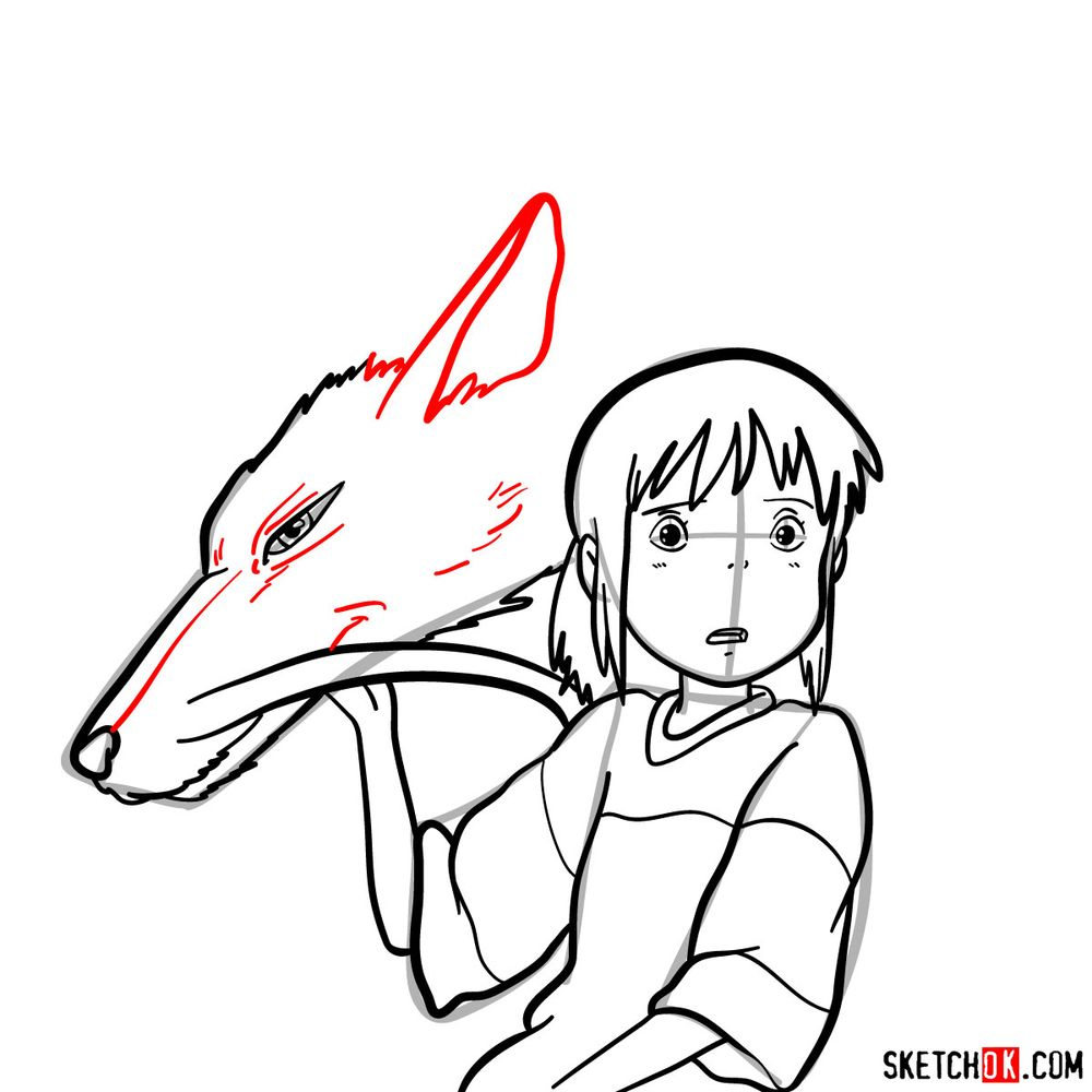 How to draw Chihiro and Haku in dragon form - step 13