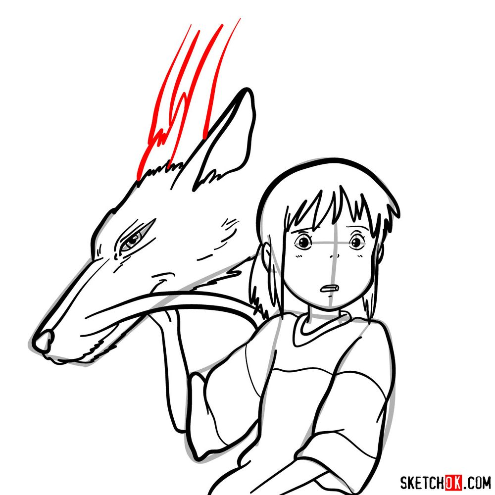 How to draw Chihiro and Haku in dragon form - step 14
