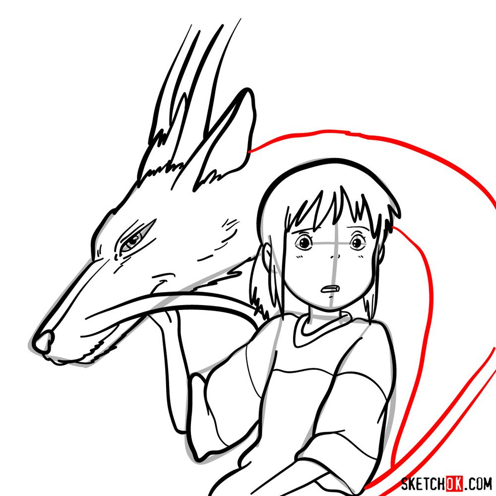 How to draw Chihiro and Haku in dragon form - step 15