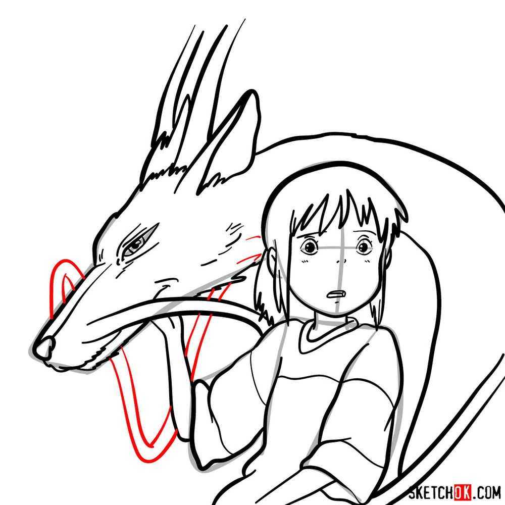 How to draw Chihiro and Haku in dragon form - step 16