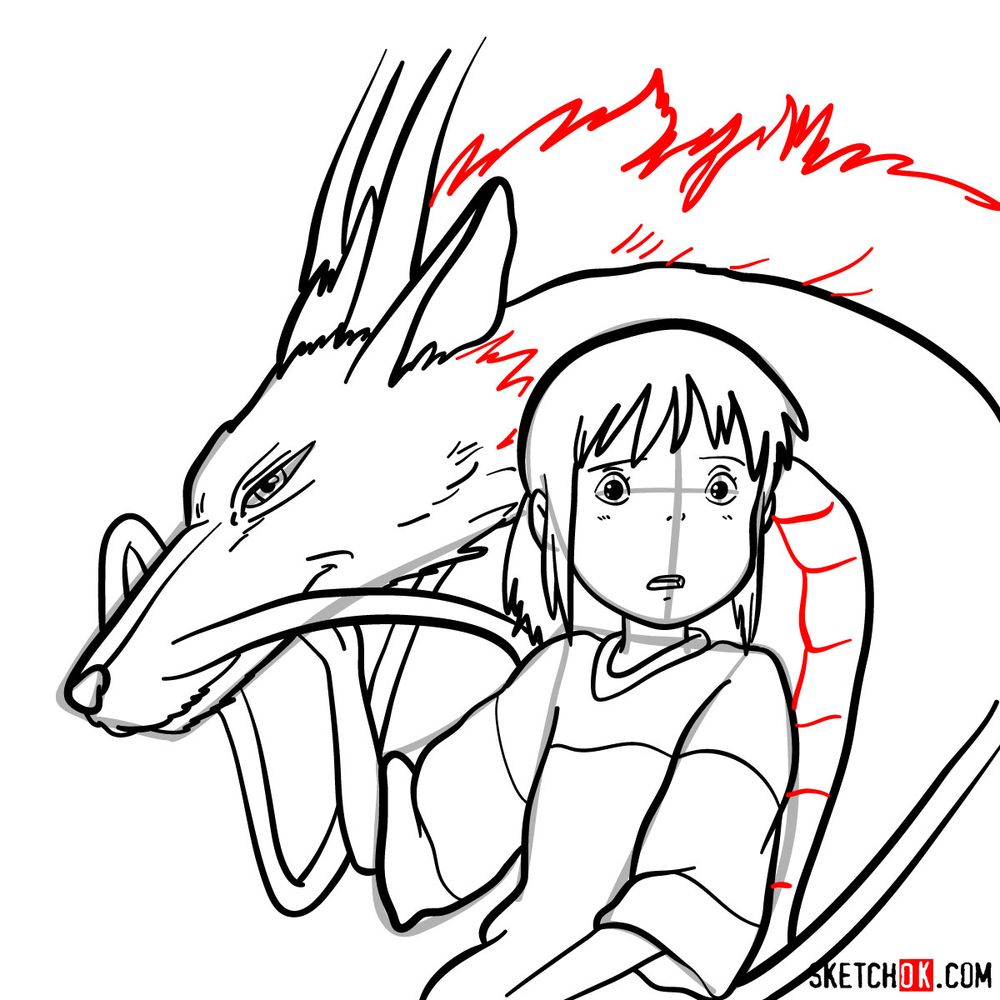 How to draw Chihiro and Haku in dragon form - step 17