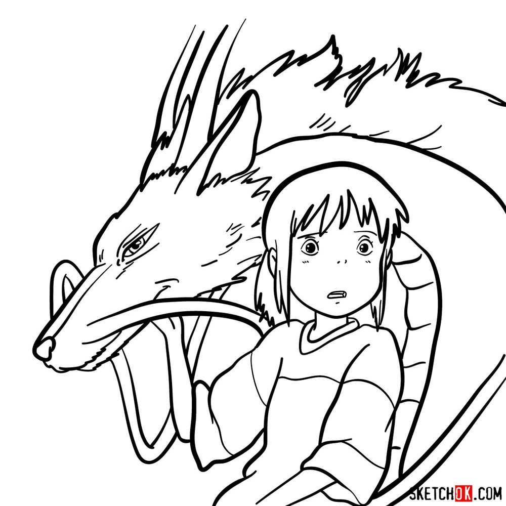 How to draw Chihiro and Haku in dragon form