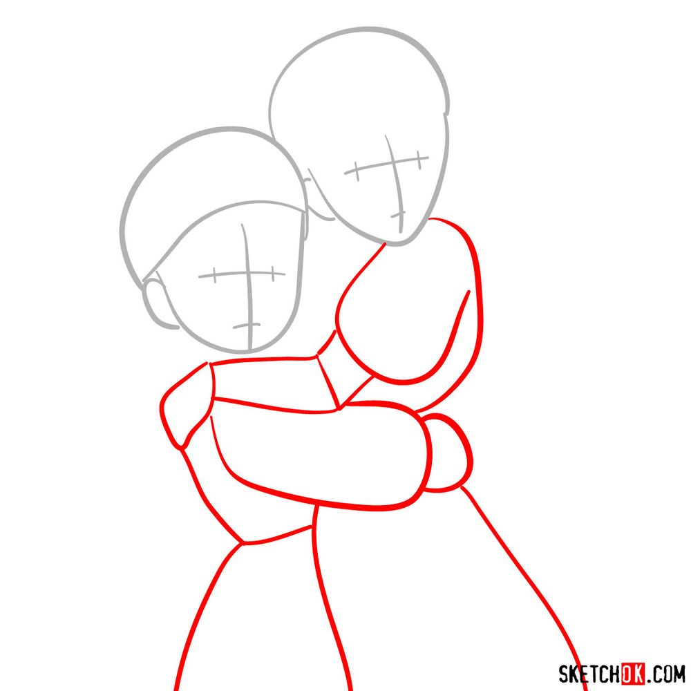 How to draw Sheeta and Pazu together - step 02