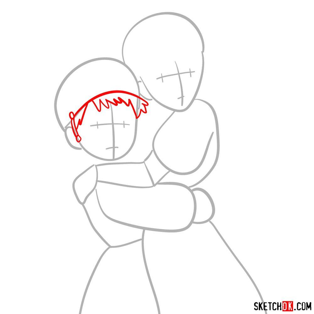 How to draw Sheeta and Pazu together - step 03