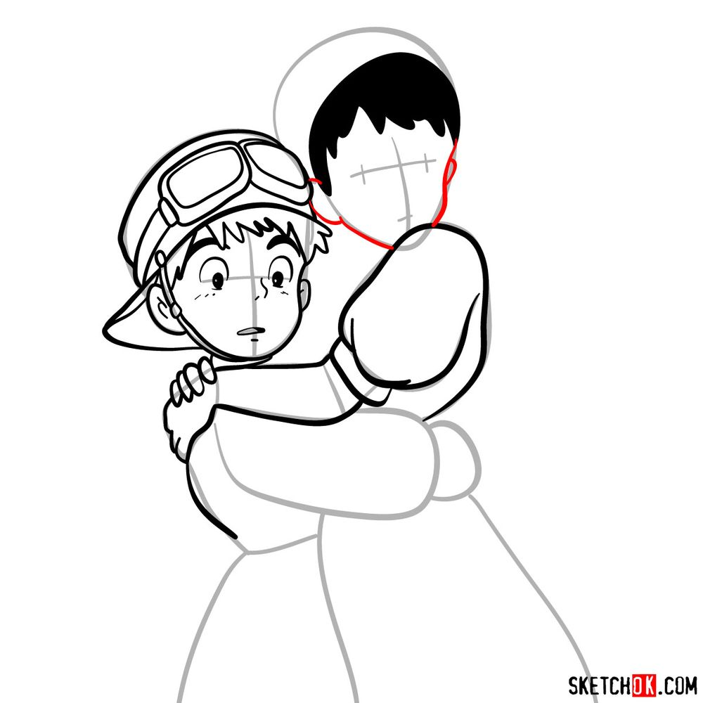 How to draw Sheeta and Pazu together - step 10