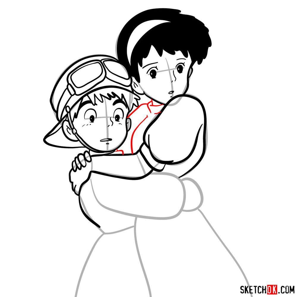 How to draw Sheeta and Pazu together - step 13