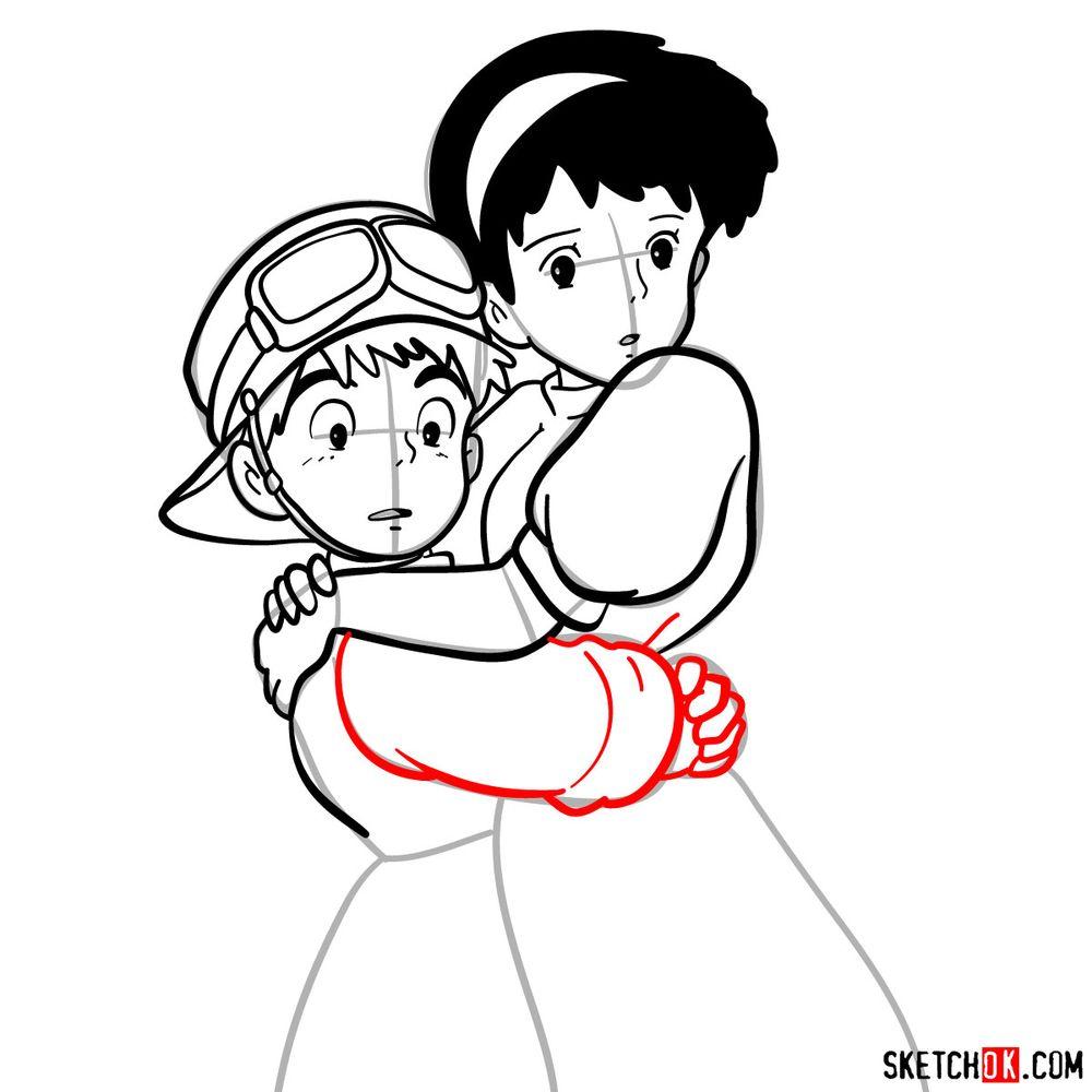 How to draw Sheeta and Pazu together - step 14