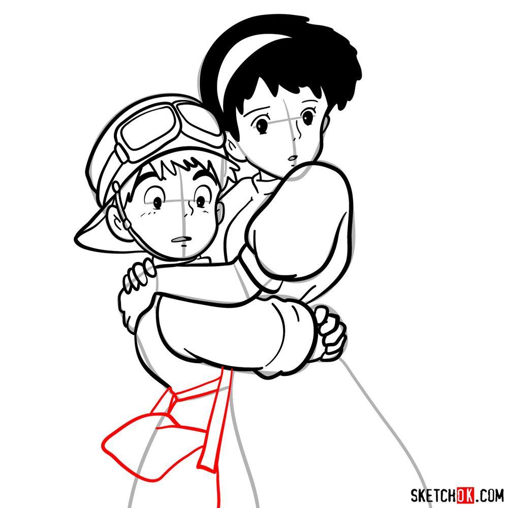 How to draw Sheeta and Pazu together - step 15